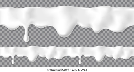 Seamless dripping white cream or yoghurt drops. Vector paint stain or yogurt splash illustration for background design. Realistic milk horizontal border. Mayonnaise repeatable blobs