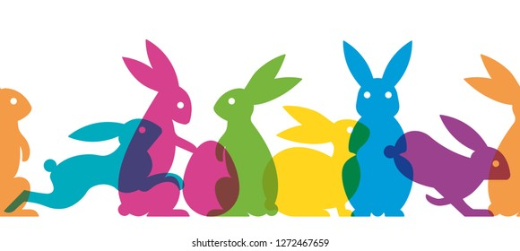 Seamless Easter banner with multicolored easter bunnies vector illustration