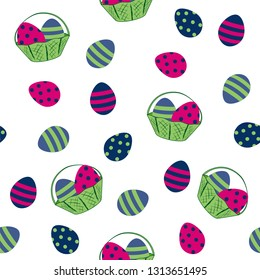 seamless easter design with easter eggs and fruit basket. Vector eps 10