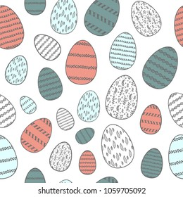 Seamless Easter pattern with colored eggs. Truditional holydays
