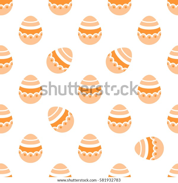 Seamless Easter pattern. Colorful season texture with cute painted eggs isolated on white. Tiling spring family background. Abstract festive ornament. Holiday wrapping paper, modern flat vector design