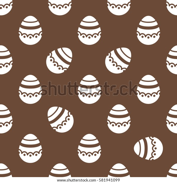 Seamless Easter pattern. Colorful season texture with cute white isolated painted eggs. Tiling spring family background. Abstract festive chocolate ornament. Holiday wrapping paper, flat vector design