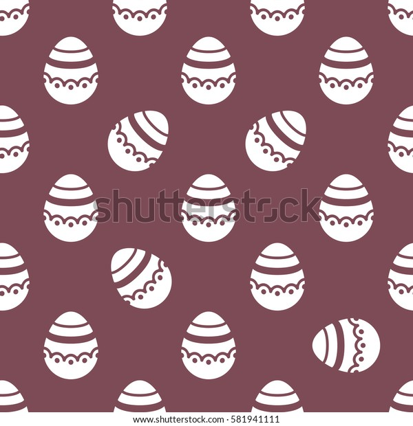 Seamless Easter pattern. Colorful season texture with cute white isolated painted eggs. Tiling spring family background. Abstract chocolate festive ornament. Holiday wrapping paper, flat vector design