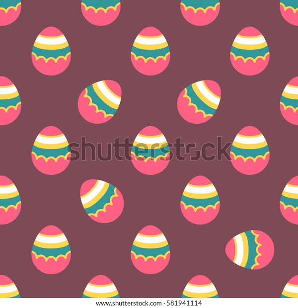 Seamless Easter pattern. Colorful season texture with cute painted eggs isolated on brown. Tiling spring family background. Abstract festive ornament. Holiday wrapping paper, modern flat vector design