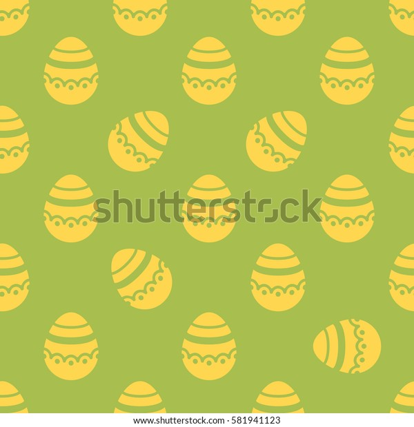 Seamless Easter pattern. Colorful season texture with cute golden isolated painted eggs. Tiling spring family background. Abstract festive ornament. Holiday wrapping paper, modern flat vector design