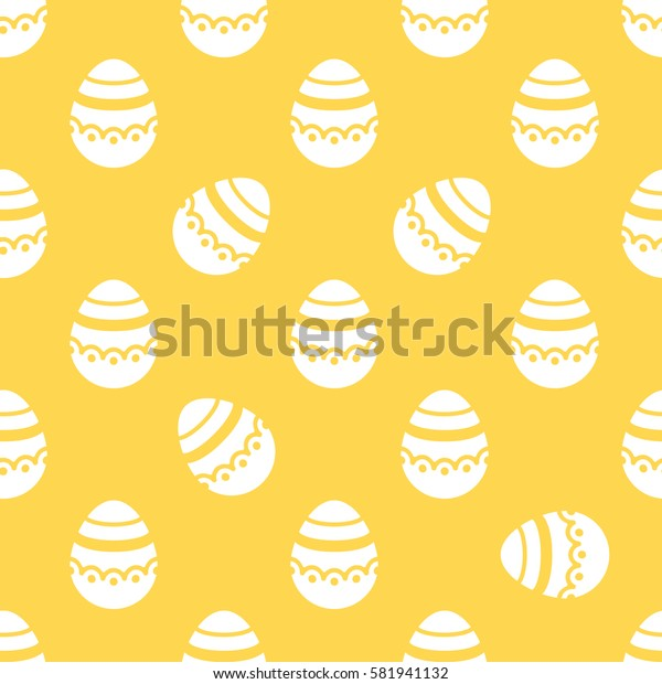 Seamless Easter pattern. Colorful season texture with cute white isolated painted eggs. Tiling spring family background. Abstract golden festive ornament. Holiday wrapping paper, flat vector design