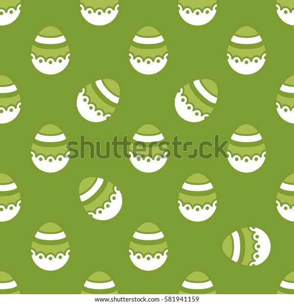 Seamless Easter pattern. Colorful season texture with cute white isolated painted eggs. Tiling spring family background. Abstract festive ornament. Holiday wrapping paper, modern flat vector design