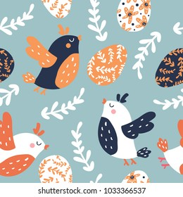 Seamless easter pattern with eggs and birds