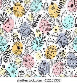 Seamless easter pattern with ornamental eggs. Easter holiday colorful background.