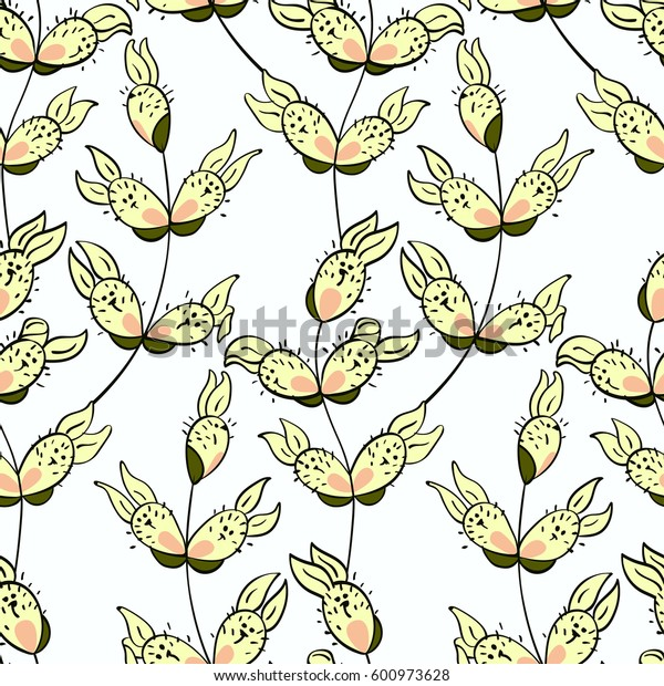 Seamless easter pattern with rabbit-willow branches. Doodle style, spring floral background. Vector illustration.