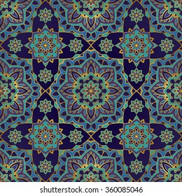 Seamless, eastern pattern of mandalas on a dark blue background. Vector elegance ornament. Design for any surface. Stylized template for wallpaper, textile, carpet,embroidery.