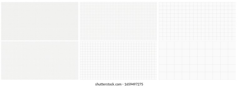 Seamless editable set of blocks grid graph paper. Vector squared grid illustration set for use as background.
