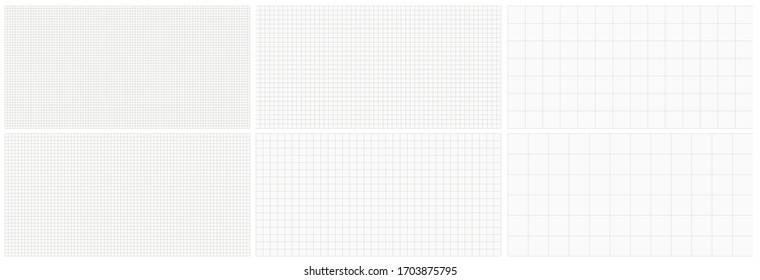 Seamless editable set of vector graph paper background. Vector illustration template. Black and white set.