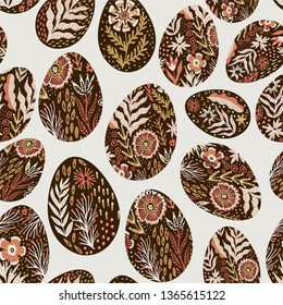 Seamless eggs pattern on the Easter theme. Graphic vector pattern with festive eggs in folk style.