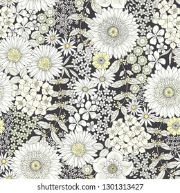 Seamless elegant floral pattern with monochrome flowers on dark background. Vector illustration in vintage style.