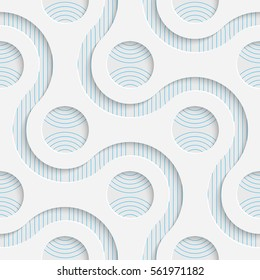 Seamless Elegant Pattern. Abstract Three-dimensional Background. Modern Textile Wallpaper. White and Blue Art Design