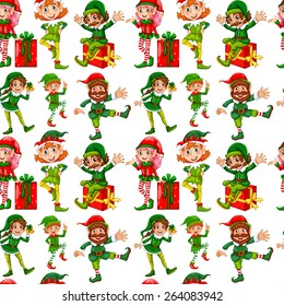 Seamless elves and christmas presents