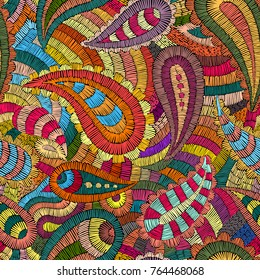 Seamless embroidered pattern. Ornament in the style of paisley. The patchwork print. Vector illustration.