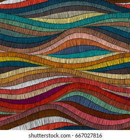 Seamless embroidered pattern. Wavy bohemian print. Patchwork ornament. Vector illustration.