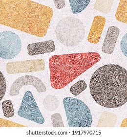 Seamless embroidery pattern in polka dot style. Grunge texture. Abstract geometric ornament. Punch needle embroidery, handmade, carpet print. Vector illustration.