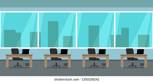 Seamless empty office interior with panoramic window. Vector illustration.