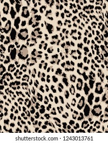 Seamless Endless Hand Drawn Leopard Animal Skin Vector Pattern Isolated Background