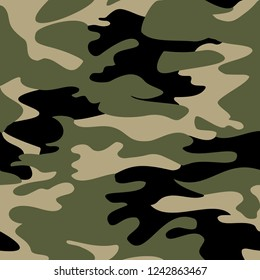Seamless Endless Hand Drawn Vector Camouflage Pattern