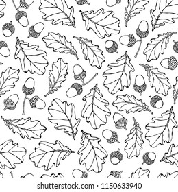 Seamless Endless Pattern of Oak Leaves and Acorns. Green and Yellow. Autumn or Fall Harvest Collection. Realistic Hand Drawn High Quality Vector Illustration. Doodle Style.
