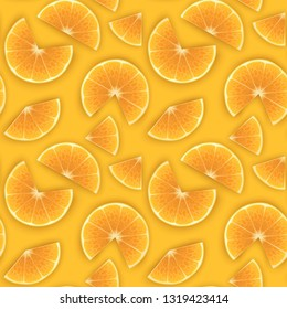 Seamless Endless Pattern with Print of Fresh orange slices, in cartoon style on orange background. Can be used in food industry for wallpapers, posters, wrapping paper, Vector illustration
