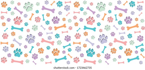 Seamless endless pattern of traces of dog paws. Dog legs and bones. Children's colorful design. Blue, orange, purple, mint colours on white background
