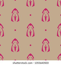 Seamless endless repeating flat two color cloak dagger background pattern. Design for wrapping paper, cover or greeting card.