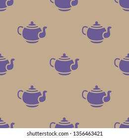 Seamless endless repeating flat two color teapot background pattern. Design for wrapping paper, cover or greeting card.
