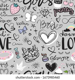 Seamless endless repeating pattern texture background design for textile graphic, fashion fabrics, wallpapers etc / Drawings with bride to be text