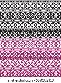Seamless ethic Georgian black and ruby red patterns for background, textile.