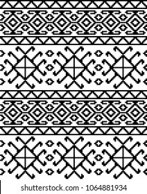 Seamless ethic Georgian black and white pattern for background, textile.