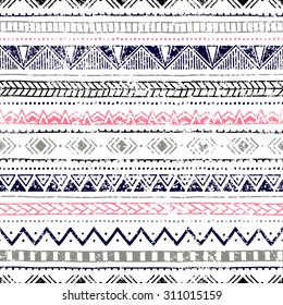Seamless ethnic background. Geometric lines on a white background. Texture. Blue, gray, pink, black elements. Doodle.