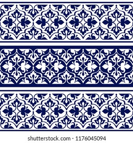 Seamless ethnic floral geometric border. Traditional oriental ornament. Indigo seamless ethnic floral pattern. Decorative ornament for fabric, textile, wrapping paper.