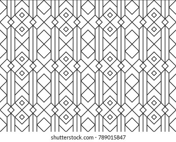 Seamless ethnic line pattern vector. Abstract design black on white. Design print for textile, fabric, wallpaper, background.