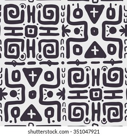 Seamless Ethnic Monochrome #Pattern. Checkered Linear Background for Textile Design. Hand Drawn Vector Illustration