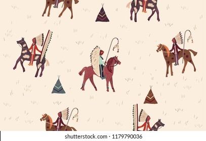 Seamless ethnic pattern. Background in navajo style. Indian horsemen on a beige background