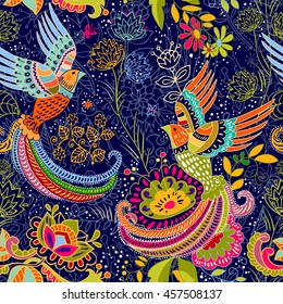 Seamless ethnic pattern with birds. Colorful floral backdrop