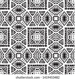 Seamless ethnic pattern. Black and white vector illustration. Drawing by hand