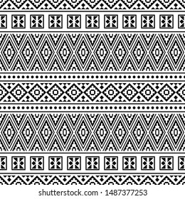 Seamless ethnic pattern in black and white color. Aztec tribal vector background design