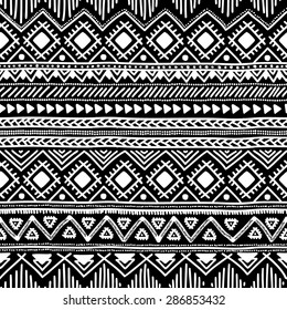 Seamless ethnic pattern. Black and white vector illustration. Drawing by hand.