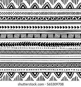 Seamless ethnic pattern. Black and white geometric pattern. Print for your textile. Vector illustration.