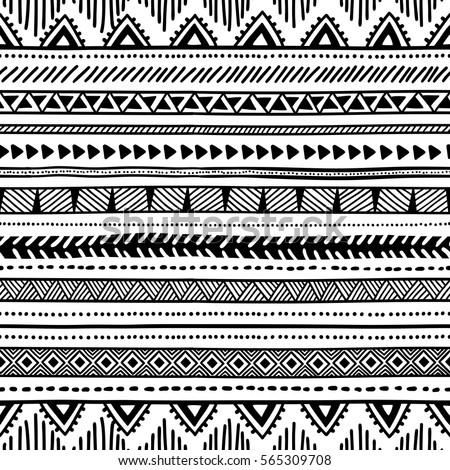 Seamless Ethnic Pattern Black White Geometric Stock Vector Royalty