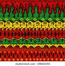Seamless Ethnic Pattern of Bright Rasta Colors. Vector Illustration.