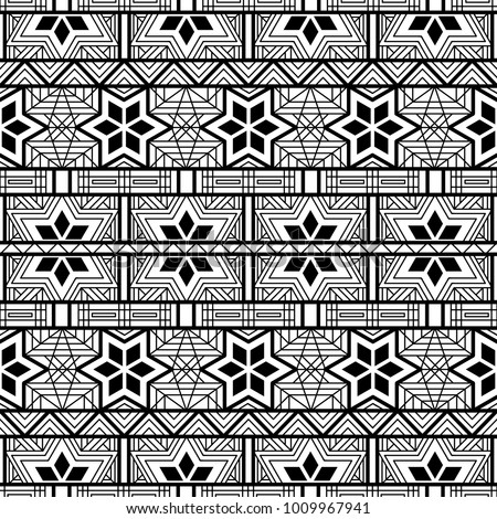 Seamless Ethnic Pattern Coloring Page Geometric Stock Vector