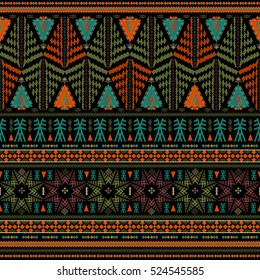 Seamless ethnic pattern. Decorative ornament, geometric elements for fabric, textile, web design, wrapping paper. Grunge neon texture background. Wallpaper for boys and girls