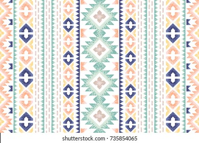 Seamless ethnic pattern. Decorative ornament, geometric elements for fabric, textile, web design, wrapping paper. Grainy texture background.
